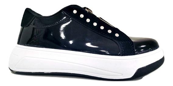 Zapatillas Plataforma Mujer Sneakers C/cierre Charol Negro