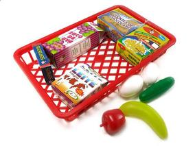 02 Brinquedo Educativo Cesta De Compras Mini Mercado