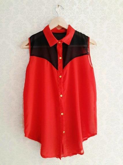 Camisa Mujer De Tela Gasa Sin Mangas Diseño Combinado