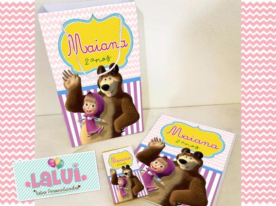 20 Kit Colorir Masha E O Urso Sacola Revista Personalizados
