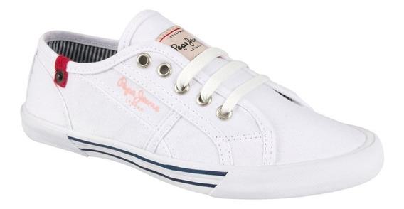 Tenis Casual Pepe Jeans Tney Blanco Mujer 126718 Nuevo