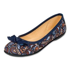 Calzado Dama Mujer Zapato Flat Marin Gosh Textil Moño Casual