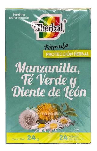 Imagen 1 de 3 de Té Manzanilla, Té Verde Y Diente De Leon 24 Sobres Therbal