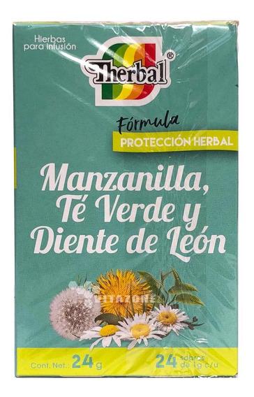 Té Manzanilla, Té Verde Y Diente De Leon 24 Sobres Therbal