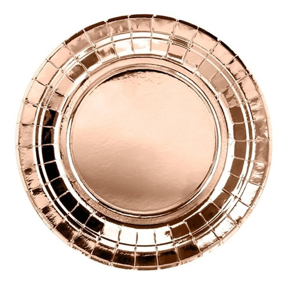 Plato Polipapel Rosa Gold Deco Metalizado X5