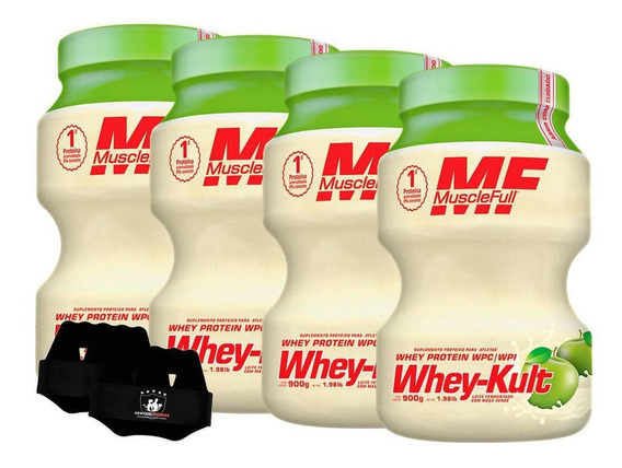 Kit 4x Whey Kult 900g Maçã Verde Muscle Full + Luva