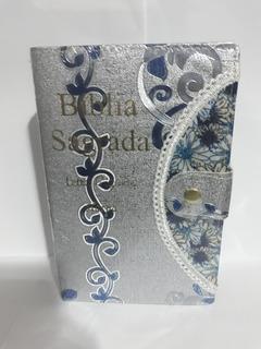 Bíblia Letra Gigante Harpa Feminina Botão Caneta Prata-azul