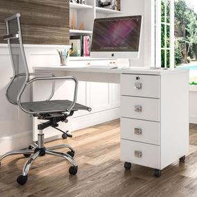 Escrivaninha 4 Gavetas Branco Brilho Office Dubai