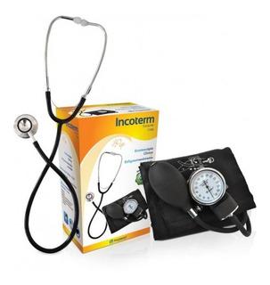 Conjunto Esfigmomanômetro + Estetoscópio Incoterm C100 Preto