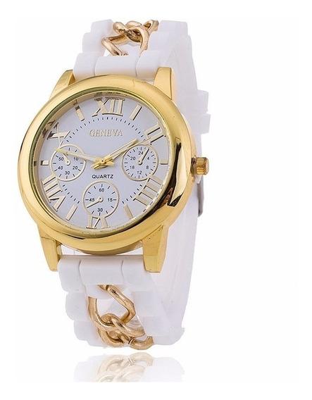 Relógio Feminino Dourado Pulseira Silicone Branco Rg002f