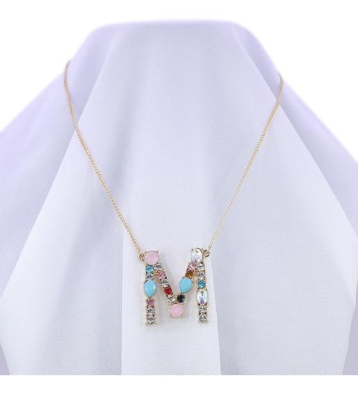 Collar Cadena Con Dije De Inicial Con Piedras Cristal