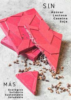 Chocolate De Frambuesa Con Nibs Apto Vegano, Sin Azúcar 50gr