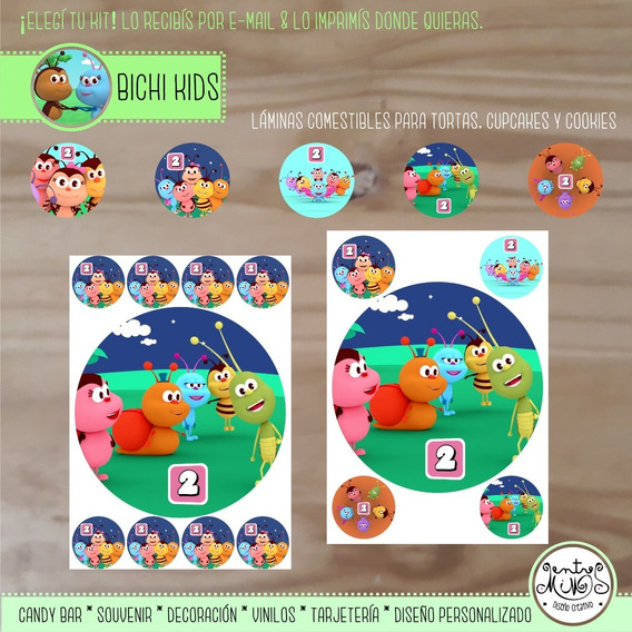 Kit Imprimible Personalizado Lámina Comestible Bichi Kids