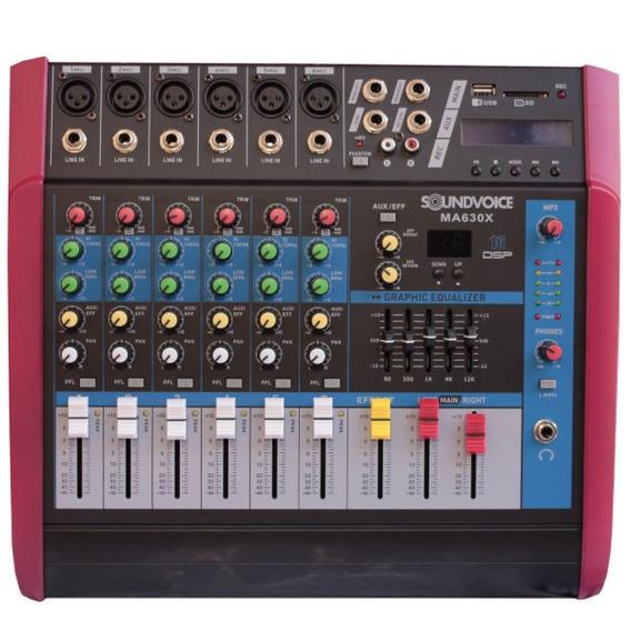 Mesa Som Amplificada 500w 4 Ohms Ma630x 6ch Mono Soundvoice