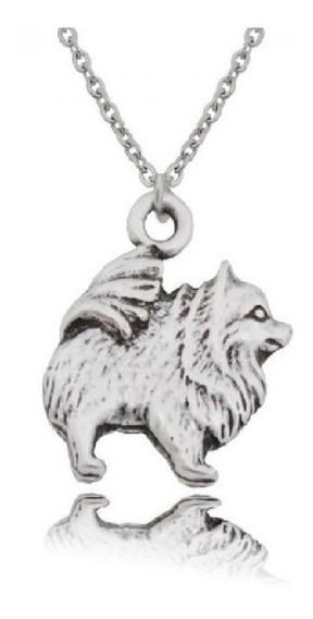 Collar Y Dije Perro Pomeranian Zinc Unisex Unitalla Joyeria
