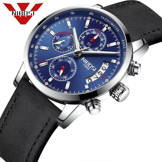 Relógio Masculino Nibosi 2327-2 Original Fundo Azul 30m