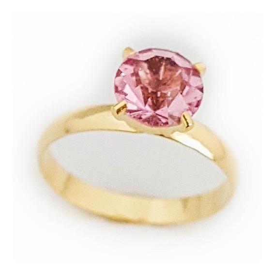 Anel Feminino Solitário Pedra Rosa Banhado Ouro 18k. A154