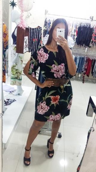 Vestido Soltinho Com Manga Curta De Viscose