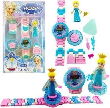 Relógio Infantil Frozen Elza Bloco De Montar