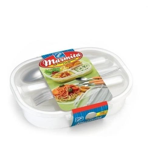 Marmita Plastica Divisoria Marmiteira Comida Com Colher