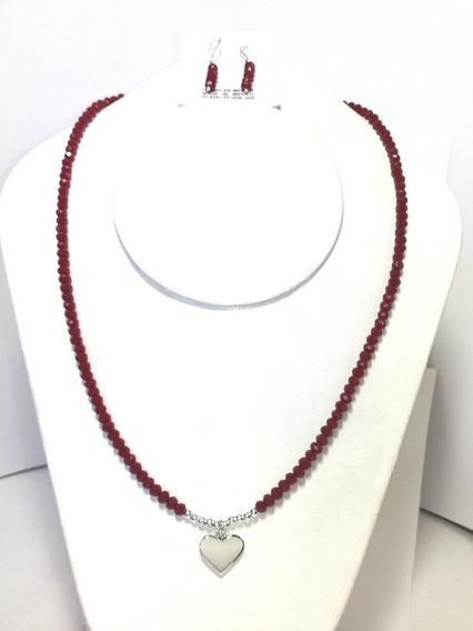 Collar De Cristal Rojo Intenso Corazón Plata. 925 Y Aretes