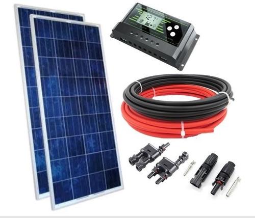 Imagem 1 de 9 de Kit Painel Solar Placa Célula 150w Controlador Cabo Conector