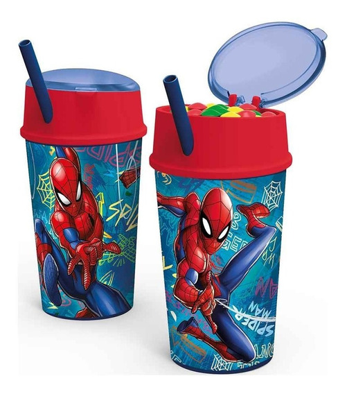Vaso Spiderman Con Porta Cereal Licencia Original Ha164
