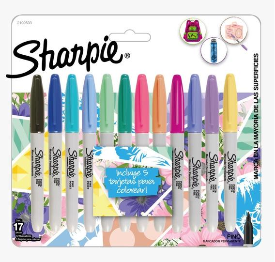 Marcadores Sharpie Tropical X12 Colores + 5 Tarjetas Colorea