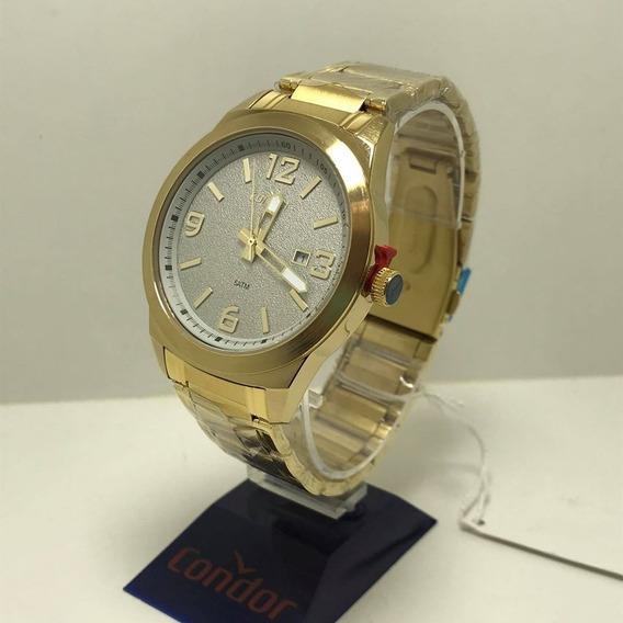 Relógio Dourado Fundo Branco Condor, Co2115kwf/k4c