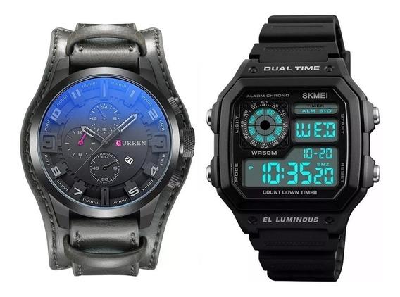 Relógio Masculino Couro Curren 8225 Skmei Digital Preto Led