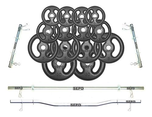 Imagem 1 de 2 de Kit Anilhas Ferro 60kg + 2 Barras 40cm + Barra 120 + Barra W