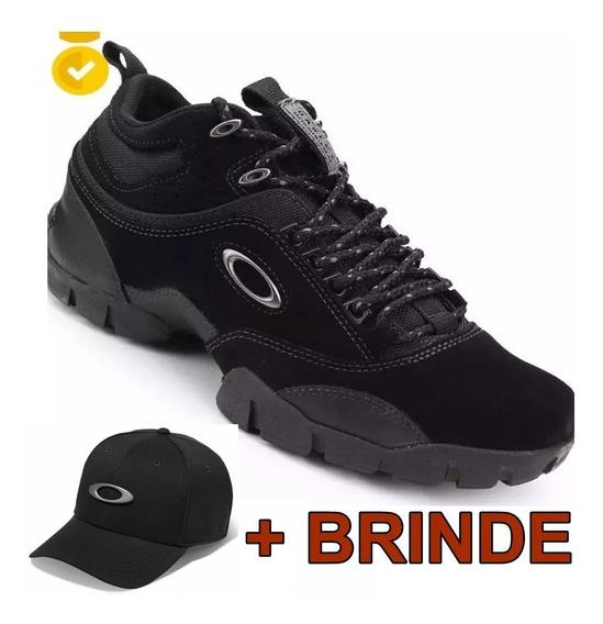 Tenis Bota Oakley Preto Black Modoc Flak Low 1.2 Couro +boné