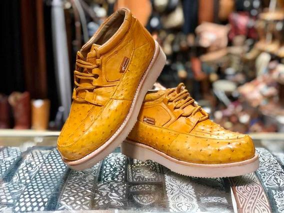 Zapato Piel Exótica Original Avestruz Colmante Canelos Piel