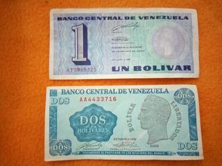 Billetes Viejos De 2 Y 1 Bs... Tinoquitos