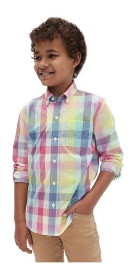 Camisa Niño Casual Manga Corta Estampado Cuadros 441321 Gap