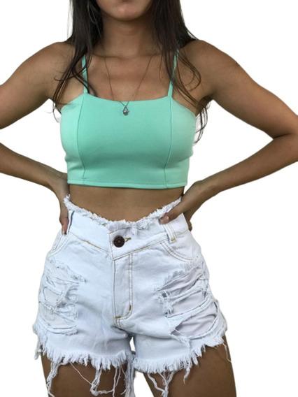 Short Jeans Cintura Alta Feminino Desfiado Roupas Femininas
