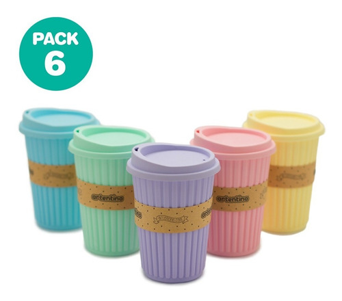 Pack 6 Vasos Térmicos Taza Jarro Tapa Silicona Frio Calor