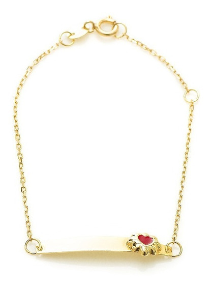 Pulseira De Ouro 18k Infantil Placa Flor Coração Vermelha Pu