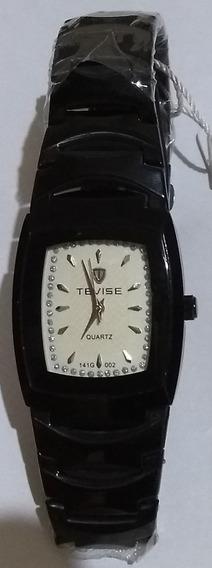 Relógio Tevise Branco Masculino Analógico Puls. Preta Inox