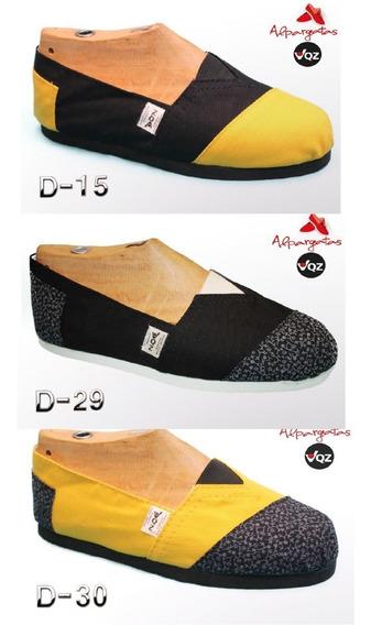 Alpargatas Reforzadas/combinadas/estampadas (negro/amarillo)