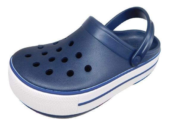 Crocs Seawalk Mujer Con Plataforma Color Azul Y Color Negro.