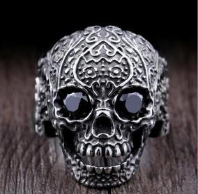 Anel Aço Inoxidável Caveira Olhos Negros Tamanho 29 (21.2mm)