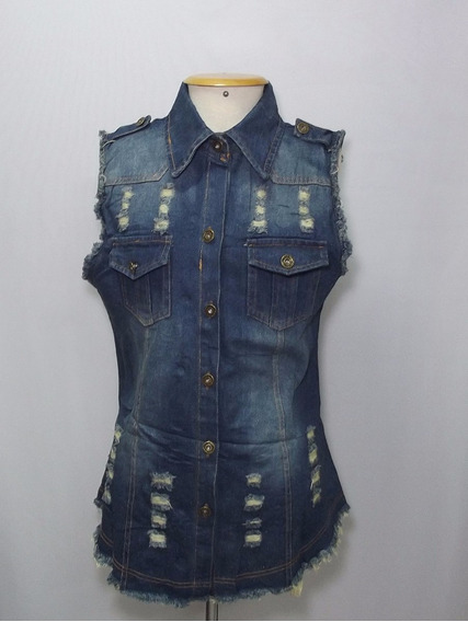 Colete Jeans Azul Escuro Feminino Longo Comprido Rasgado