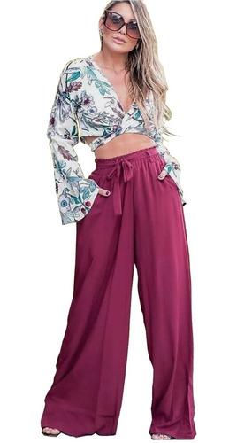 Imagem 1 de 5 de Pantalona De Elástico Tecido Viscose Com Forro E Bolso
