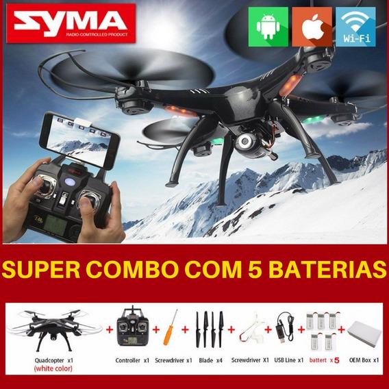 Quadricóptero Syma X5sw C/ Câmera Wifi Fpv Drone 5 Baterias!