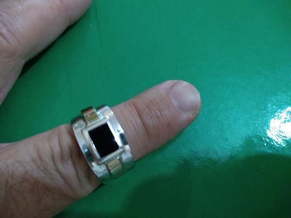 Anel Em Prata De Lei 950 Com Onix No.detalhe