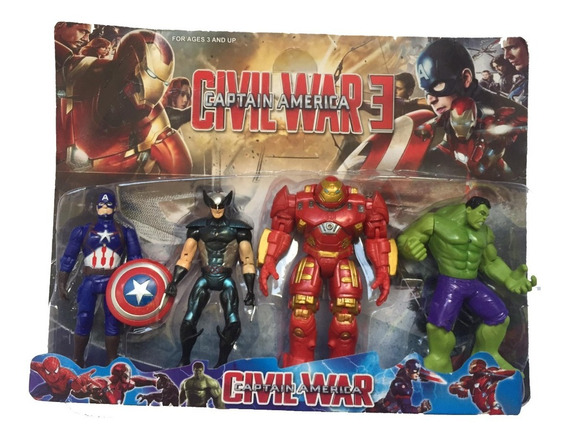 Juguete Avengers Set De 4 Thor Hulk Capitán America Iron Man