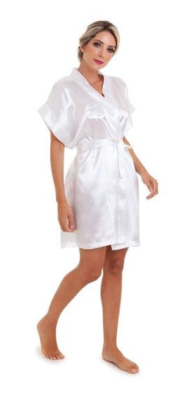 Robe De Cetim Branco Liso Sem Bordado Pronta Entrega Full