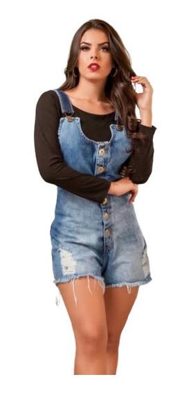 Macaquinho Jardineira Short Jeans Feminina Com Botões 008