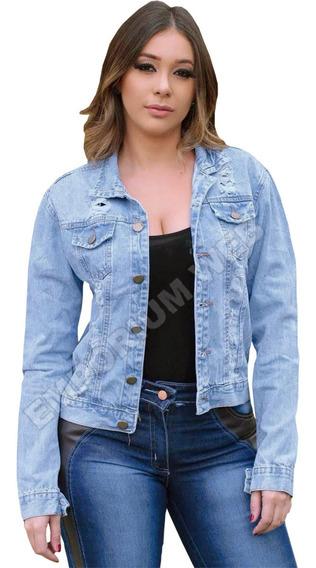 Jaqueta Jeans Feminina Desfiada Moda Look Perfeito